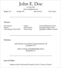 Acting Resume Special Skills Sample Acting Resumes Acting Resume No Experience Template