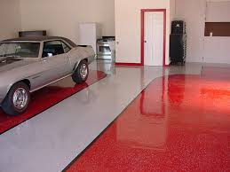 red and gray painted color epoxy floor inside garage house design