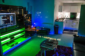 ultimate gaming room in the living