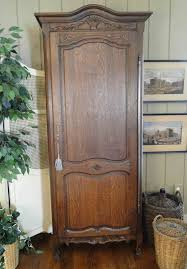Door Armoire Country Armoire Antique French Tall Narrow Dark Oak Carved Single