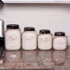Kitchen Counter Canister Sets by Mason Jar Canister Set 4 Pc Kitchen Counter Storage Ceramic Sugar