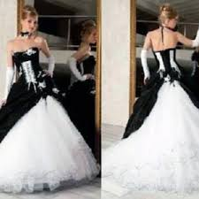 corset wedding dresses black and white for old gothic bridal