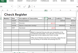 Check Register Template Excel Check Register Template For Excel
