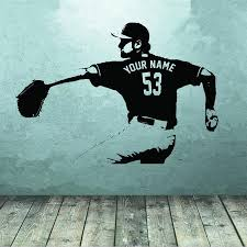 Home Decor Wall Art Stickers Baseball Player Wall Art Decal Sticker Choose Name Number