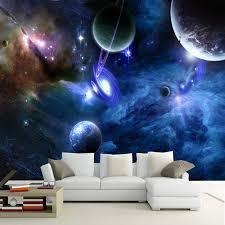 Custom 3D Murals Galaxy Fluorescent Wallpapers Moisture Home