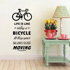 compare prices on bicycle wall art decor online shopping buy low life is like riding a bicycle quote bike sport diy vinyl art wall decor stickers wallpapers