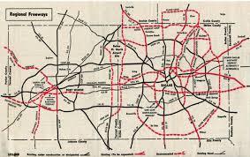 Dallas County Map Dfw Proposed Freeways 1967 Dallas