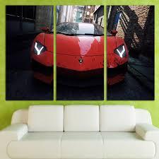 3 panels canvas art racing red luxury car home decor wall art