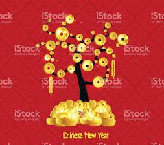 new year gold coins new year celebration tree coin and gold stock vector