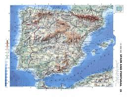 Physical Map Of Europe by Large Detailed Physical Map Of Spain And Portugal With Roads