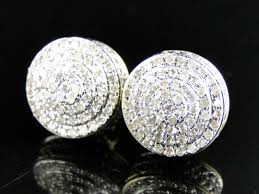 10mm diamond 10k yellow gold diamond dome pave stud earrings 10mm 1 0 ct