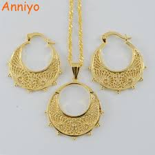 small gold necklace sets images 2018 anniyo small size ethiopian set jewelry necklace earrings jpg