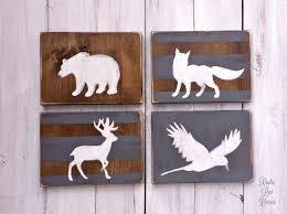 Deer Nursery Decor Woodland Nursery Wood Set Tribal Decor Rustic Nursery Sign