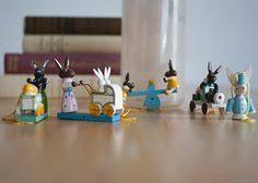 German Wooden Easter Decorations by Vintage Miniature Erzgebirge Germany Wood Bunnies Mom Dad U0026 Baby