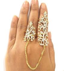 large finger rings images Buy ad double finger ring gold plated cubic zirconia online jpeg