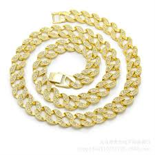 crystal link necklace images Hip hop 30 quot cz crystal 15mm cuban link chain bling iced out gold jpg