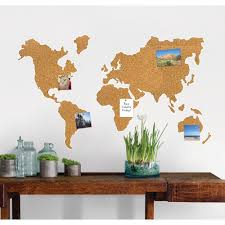 World Map Wall Decal Wallpops 26 In X 26 In Cork Map Pinboard Wall Decal Wpe1941