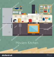 kitchen interior flat design kitchen concept stock vector