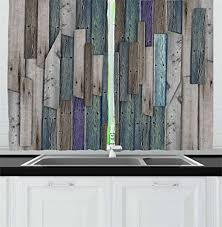 rustic blue gray kitchen cabinets ambesonne rustic kitchen curtains image of blue grey grunge wood planks barn house door nails country theme print window drapes 2 panel set for