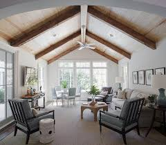 Vaulted Ceiling Tv Mount by Beige And Blue Living Room With Vaulted Plank Ceiling