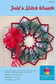 fold n u0027 stitch wreath pattern by poorhouse quilt designs fab
