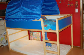 Bunk Bed Tent Ikea Wooden Bunk Bed With Blue Canopy And White Blue Bed Sheet