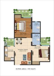 2bhk floor plan ajnara le garden noida extension floor plan