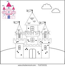 connect dots coloring castle vector stock vector 713733331