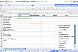 Estate Spreadsheet Templates How To Create A Document To Keep Your Loved Ones Informed If Worse