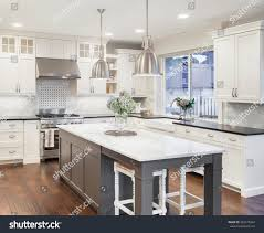 Hardwood Floors In Kitchens Beautiful Kitchen Luxury Home Island Pendant Stock Photo 393270364
