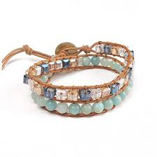 turquoise stone bracelet images Seapink women 39 s genuine leather wrap crystal bead jpg