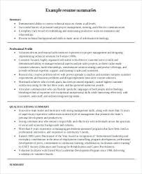 project manager cv resume summary examples finance resume summary
