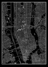 Chicago Map Poster by New York City Manhattan Street Map Vintage Black Print Poster