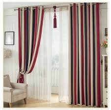 White And Blue Curtains White Blue Stripe Luxury Blackout Window Curtains For Living