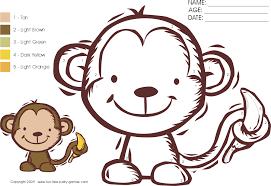 color numbers activity cartoon monkey banana fun free