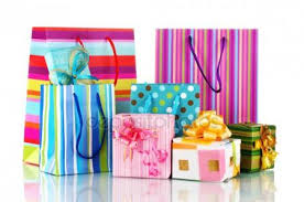 present bags bright gift bags and gifts isolated on white stock photo