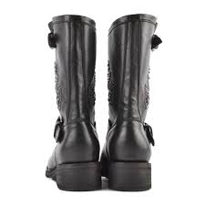 black leather motorcycle boots buy studded tara biker boots from ash footwear in black leather online