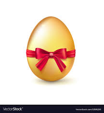golden easter egg golden easter egg with ribbon and bow vector image
