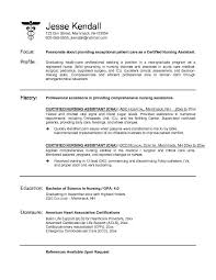 Examples Of Career Change Resumes by Certified Nursing Assistant Resume Sample No Experience No Job