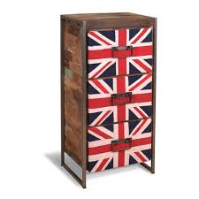 Reclaimed Boat Wood Furniture Union Jack High Chest Of 3 Drawers In Reclaimed Boatwood Home