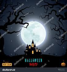 halloween moon haunted house castle graphic stock vector 330608009
