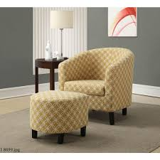 monarch specialties burnt yellow cotton arm chair with ottoman i