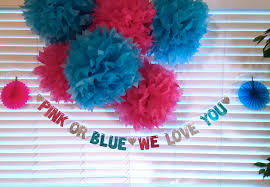 blue baby shower decorations pink or blue we you banner baby shower decoration