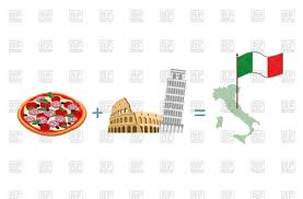Flag Of Itali Pizza And Italian Characters Attractions Map And Flag Of Italy