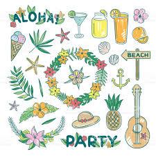 hawaii cocktail party hand drawn illustration set aloha beach