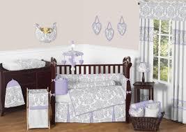 amazon com sweet jojo designs 9 piece lavender gray and white