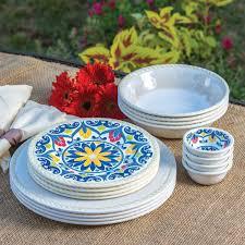 16 indoor outdoor melamine dinnerware set ivory