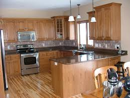 Modern Wood Kitchen Cabinets Modern Makeover And Decorations Ideas Black Granite Counter Oak