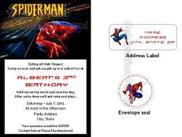 spiderman birthday invitations w address labels and envelope seals