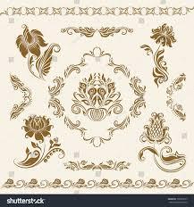 set vector damask ornaments floral elements stock vector 105525617